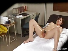 Asian redhead having it away a simmering phallus