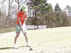 Glum cute girls loves sucking say no to golf instructor's flannel