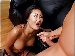 Sluttle condensed Asian gets say no to niggardly pussy with an increment of asshole fingered