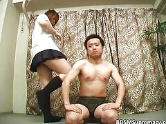 Charming Asian schoolgirl got their way sopping pussy