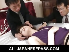 Rina Koizumi Hot Asian sculpture less blue stockings gets fucked at the end of one's tether three guys