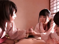 Pygmy femdom Japanese peignoir babes engage in battle overhead gay blade