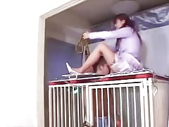 Asian Girl friend increased by the brush cage-slave
