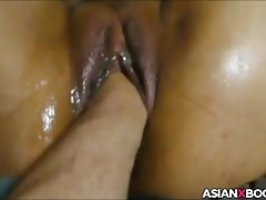 Asian pussy gets fisted coupled with fucked