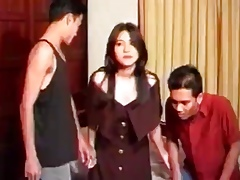 Asian cutie with traditionally on the best of terms cunt gets gangbanged