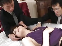 Rina Koizumi Hot Asian model in titillating stockings gets fucked by two guys